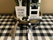 Farmhouse Set For Tiered Tray / Home Sweet Home Decorandnbsp 4 Piece See Description