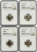 1996 W Roosevelt Dime Ngc Ms67 Ms67ft Ms68 Ms68ft - 4 Coin Set