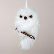 Ksa Club Pack Of 24 White Snowy Owl Perched On Branch Christmas Ornaments 4