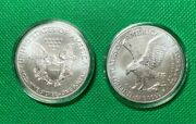 2021 American Silver Eagle Type T1 Andtype T 2 Uncirculated From A Fresh Mint Tube