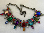 Bling Statement Bib Necklace Multi Color Faux Stones Holiday Special Ocassion