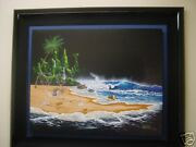 Michael Godard-paradise-red Wine-beach-hawaiian Island-las Vegas Artist-framed