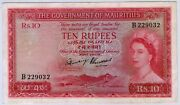 1954 Nd Qeii Government Of Mauritius 10 Rupees Note Ex. Ex. Scarce Piece