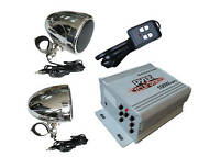 Motorcycle Amplified 3and039and039 Weatherproof Speakers W/ Fm