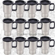 Wholesale Lot Of 12 Stainless Steel Travel Mug 14oz With Tapered Bottom