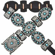 Navajo Turquoise Concho Belt Old Pawn Style Antiqued Silver By Verna Blackgoat