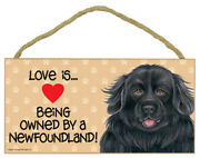 Love Being Owned Newfoundland Wood Sign Plaque Dog 5 X 10 Hanging