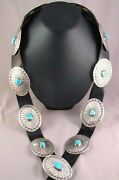 Navajo Sterling Silver Turquoise Concho Belt Native Vintage Old Pawn C1980s