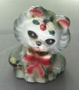 Vintage 1950and039s Ceramic Grey Cat W Ribbon Pepper Shaker