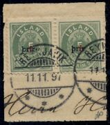 Iceland 32 Prir 3 On 5aur Pair Used On Piece Gronlund And Pollak Certificates