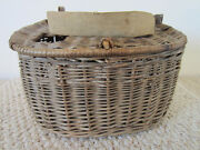Vintage Fresh Water Basket Weave Large Fishing Creel With Leather And Canvas Strap