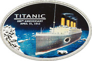 Andcurrennewandcurren Cook Islands 5 2012 Silver Proof Titanic With Coal From The Titanic Wreck