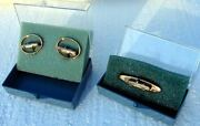1964 Chevy/convertible Balfour Nos Gold-tone Promo Dealer Cufflinks And Tie-clip