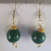 Gold Hypo-allergenic Christmas Ornament Beads Green And Yellow Earrings 2 004