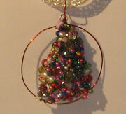 Hand Crafted Christmas Tree Silver Necklace And Pendant 20 Green And Red 134a