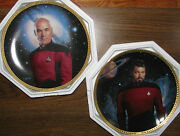 Star Trek The Next Generation Collector Plates Picard Riker Mint In Box Lot 2