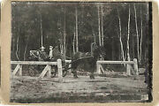 Park Scene With People Sitting In Horse Carriage Original Antique Photo Russia