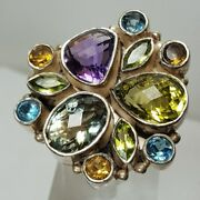 Hsn Cl By Design 24ct Multigemstone 925 Sterling Silver Cluster Ring Sz 7