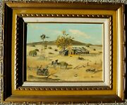 Maxine Parsons Old West Ghost Town Desert Ranch Farm Landscape Gold Frame 1950s