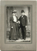 Edwardian Fashion Cabinet Photo Portrait Of Young Couple And Reading, Pa Studio