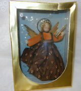 Vtg Germany Wax Angel Tree Topper In Original Box Velvet With Gold Accents Rare