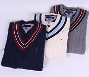 Men Cable Knit Cricket V-neck Classic Sweater - Free 0 Shipping