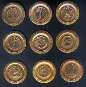 Set Of 9 Israel Bronze 45 Mm Medals Featuring Ancient Judean Coins With Site Unc