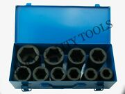 10 Pc 1 One Inch Drive Dr Large Size Air Black Impact Socket Wrench Tool Set Mm