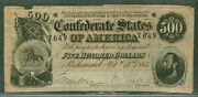 1864, T64, 500.00, Confederate Coat Of Arms, F/vf, Scarce