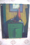Walter Killam Painting Original Still Life With Cool Abstract Painting Above Old