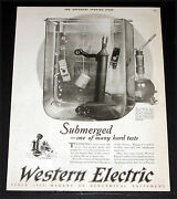 1925 Old Magazine Print Ad, Western Electric, Testing Of Telephone Parts, Art