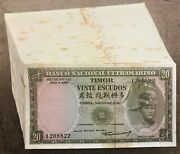 Wholesale Group Of 100 Timor 20 Escudos Notes Of 1967 Pick 26a Unused But Spots
