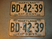 2 Old Vtg Antique Collectible Exp 3-31-57 Maryland License Plates Bd4239