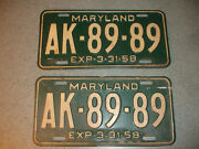 2 Old Vtg Antique Collectible Exp 3-31-58 Maryland License Plates Ak-89-89