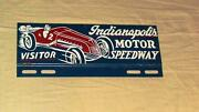 Indianapolis 500 Speedway Souvenir License Plate Topper Sign W/ Race Car 1950's
