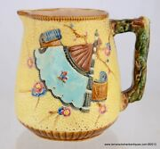 Victorian Majolica Art Pottery Fan & Scroll w/Insect Pitcher English Registry