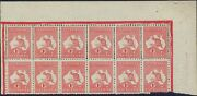 Stamps 1d Red Kangaroo Die 2a Plate K Right Pane Block 12 Double Perf Variety