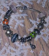 Pandora- Authentic Bracelet Sz 7 1/2 With 14 Pre-owned And Or Retired Rare Charms