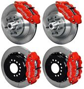 Wilwood Disc Brake Kit64-74 Gm13 Rotors6 Piston Front And 4 Rear Red Calipers