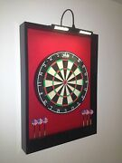 Led Lighted Red And Black Dart Board Cabinet And Dmi Staple-free Sisal Bristle Board