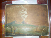 Old Painting 1835 Volcano Seascape Boat Very Old Rare People Scene