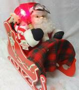 Vintage Animated Santa Claus On Sleighs Lighted Telco Motion-ettes Original Tag