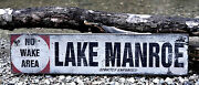 Personalized No Wake Area Lake House Sign - Rustic Hand Made Vintage Wood Sign