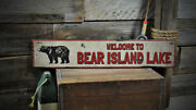 Personalized Welcome To Wood Sign - Bear - Rustic Hand Made Vintage Wood Sign