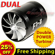 For Toyota Air Intake Dual Fan Turbo Supercharger Turbonator Gas Fuel Saver Blk