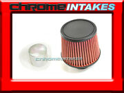 Red Universal 3 Flat Top Flange Dry Air Filter For Bmw Air Intake+pipe