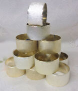Vintage Silver Plate Christmas Napkin Rings Holders 14 Pc Matching Set