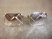 Old Vtg Collectible Silver Tone Square Design Swank Cuff Links