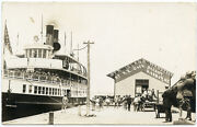 Rppc Ny Sackets Harbor Railroad Station Depot Steamer Thousand Islander Soldiers