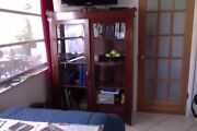 Tall Antique Wood Book Shelf, Book Case With Beveled Glass,